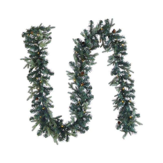 "NOMA 9 Ft Garland Mini Pinecone with Lights. Garland is in a Sideways S ""Tilde"" Shape. White Background"