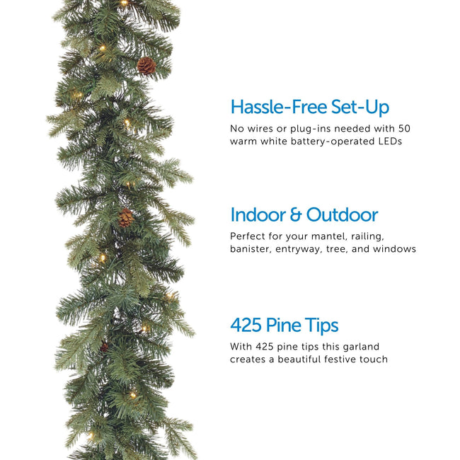 Mini Pinecone Garland on Left Side of Image. 3 Feature Call Outs on Right Side of Image. White Background