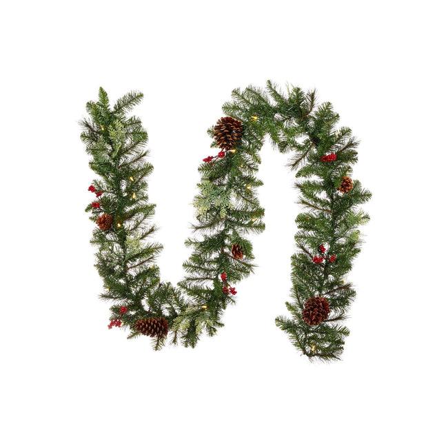 "NOMA 9 Ft Preston Berry and Pinecone Garland with Lights. Garland is in a Sideways S ""Tilde"" Shape. White Background"