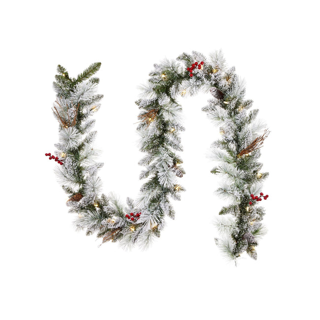 "NOMA 9 Ft Snow Dusted Berry Garland with Lights.  Garland is in a Sideways S ""Tilde"" Shape. White Background."