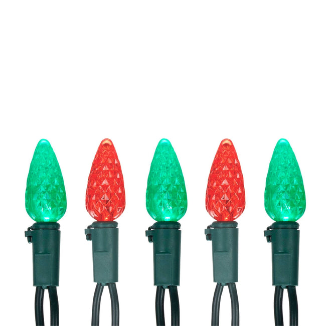 Noma C6 String Lights, 5 bulbs: 3 Green, 2 Red. Green Wire on White Background