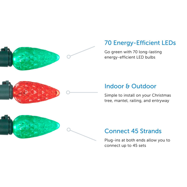 Noma C6 String Lights, 3 Feature Call Out. 3 Bulbs displayed, 2 green and 1 red