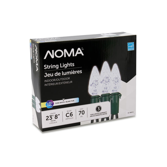NOMA C6 Pure White String Lights Packaging Box on a White Background