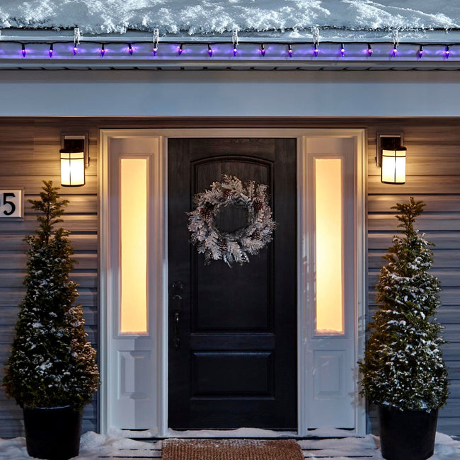 Noma C6 Purple String Lights on a roof edge above home entrance. Wreath on door and two potted trees on porch