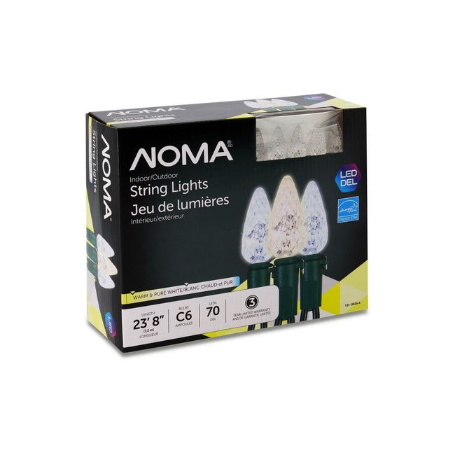 NOMA C6 Warm & Pure White String Lights Packaging Box on a White Background