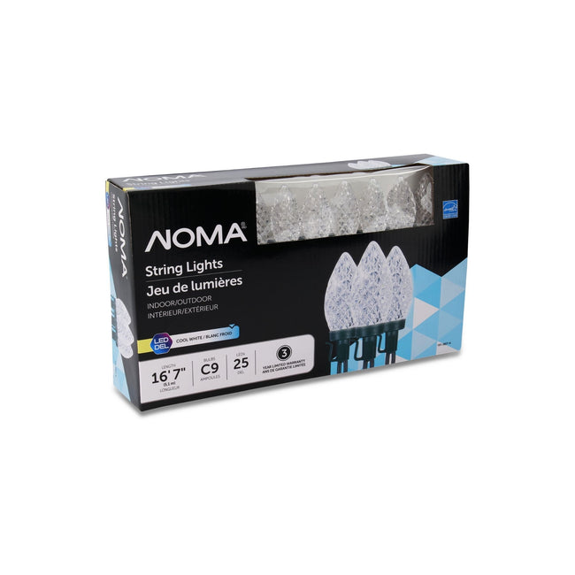 NOMA C9 String Lights Cool White - 25 Count, Packaging Box on White Background