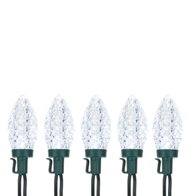 NOMA C9 String Lights 5 Cool White Bulbs, Green Wire on White Background