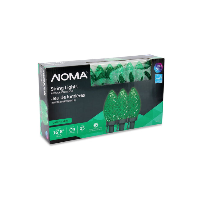 NOMA C9 String Lights Green- 25 Count, Packaging Box on White Background