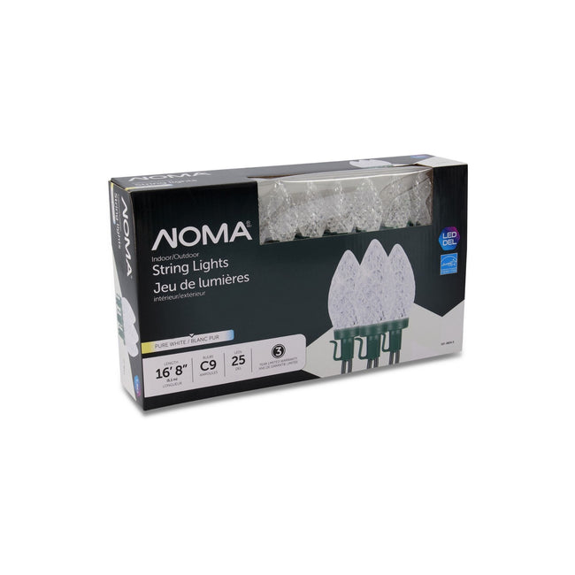 NOMA C9 String Lights Pure White - 25 Count, Packaging Box on White Background