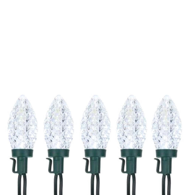 NOMA C9 String Lights 5 Pure White Bulbs, Green Wire on White Background