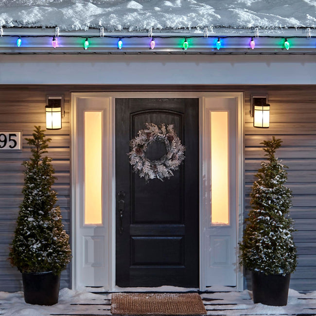 Noma C9 Purple, Blue & Green String Lights, on a roof edge above home entrance. Wreath on door and two potted trees on porch