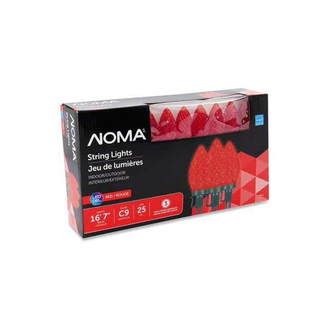 NOMA C9 String Lights Red - 25 Count, Packaging Box on White Background