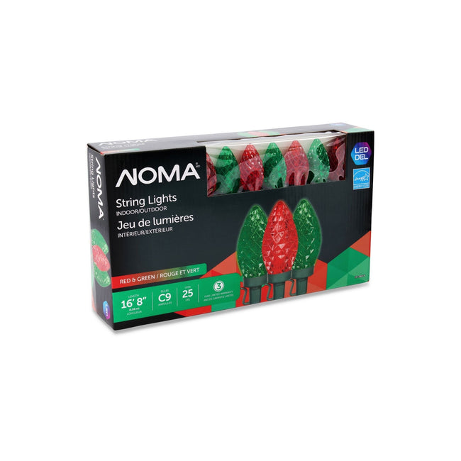 NOMA C9 String Lights Red & Green - 25 Count, Packaging Box on White Background