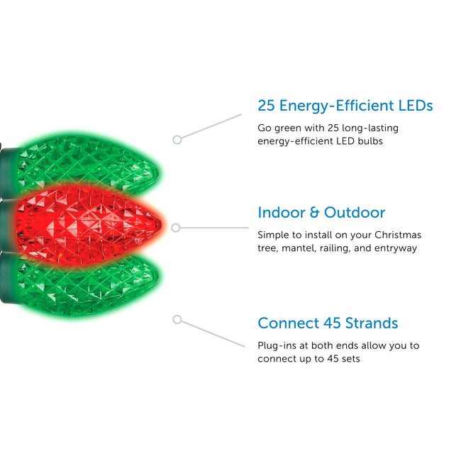 NOMA C9 String Lights Feature Call Out. 3 Features listed on a White Background with 3 Red & Green Bulbs on left hand side