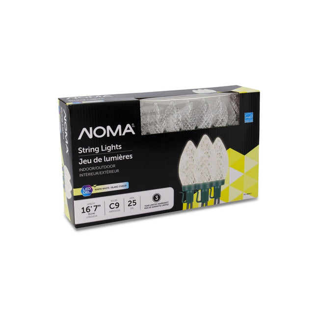 NOMA C9 String Lights Warn White - 25 Count, Packaging Box on White Background