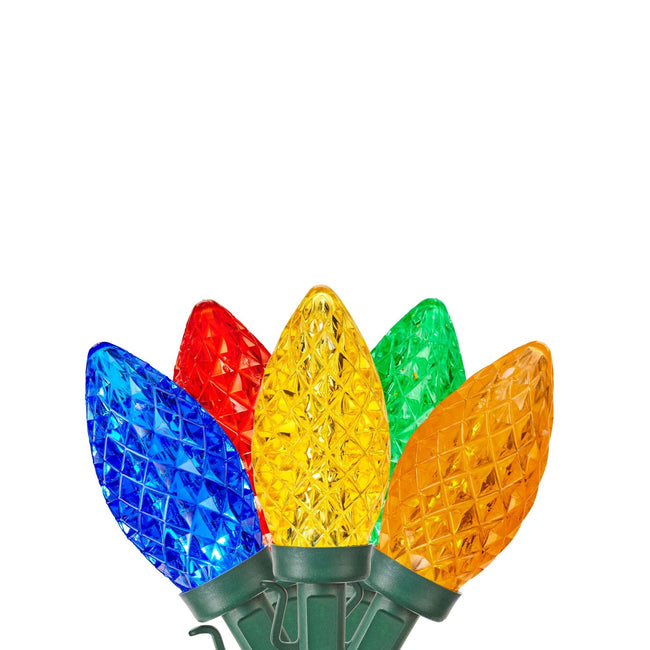 NOMA Multi-Color C9 String Light Bulbs Fanned Out on White Background