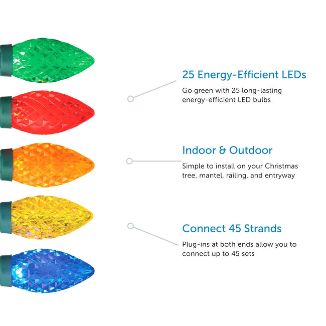 NOMA C9 String Lights Feature Call Out. 3 Features listed on a White Background with 5 Multi-Color Bulbs on left hand side
