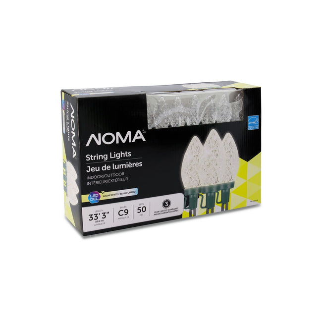 NOMA C9 String Lights Warm White - 50 Count, Packaging Box on White Background