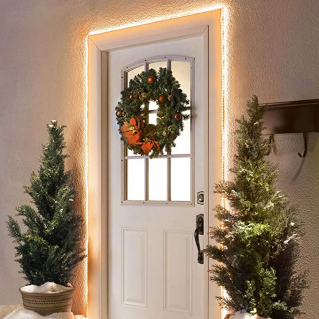 Warm White Rope Light around Door Frame. Wreath on Door and 2 Potted Trees on either side of door