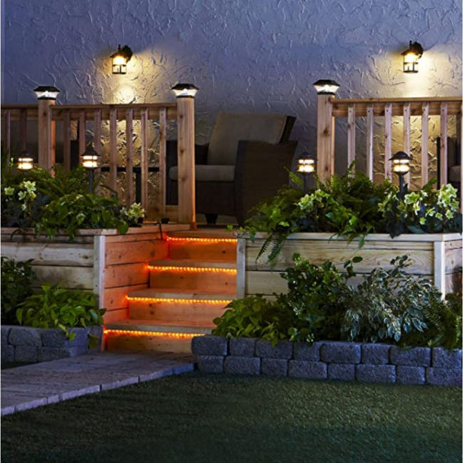 Porch/Deck Stairs with Warm White Rope Light  under each Stair Step