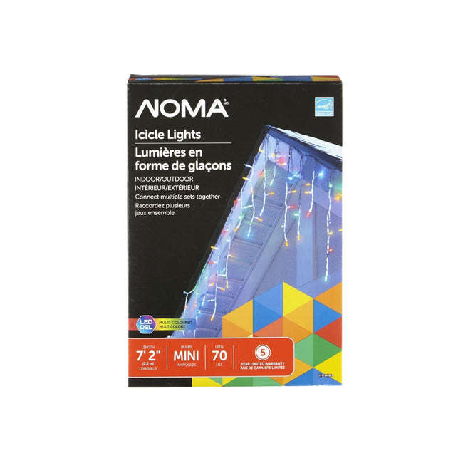 NOMA Mini Icicle Multi-Color String Lights Packaging Box on White Background