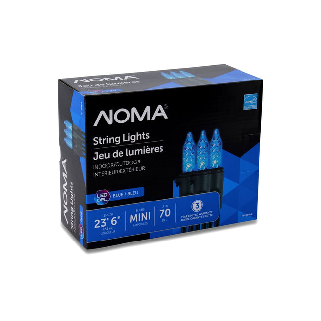 NOMA Mini LED String Lights Blue -70 Count, Packaging Box on White Background