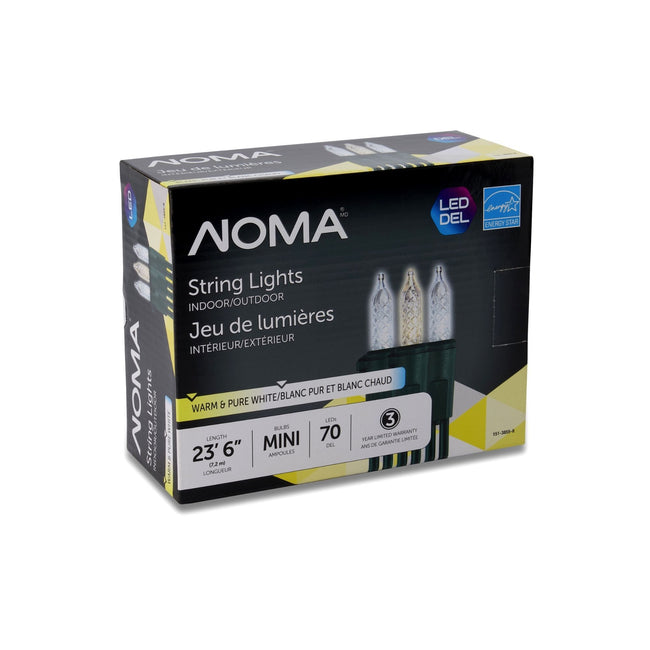 NOMA Mini LED String Lights Warm & Pure White -70 Count, Packaging Box on White Background