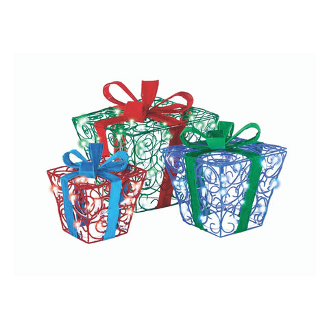 NOMA Pre-Lit Fuzzy and Whimsical 3-Pack Gift Boxes, in Green, Blue and Red with 100 LED Bulbs. White Background.