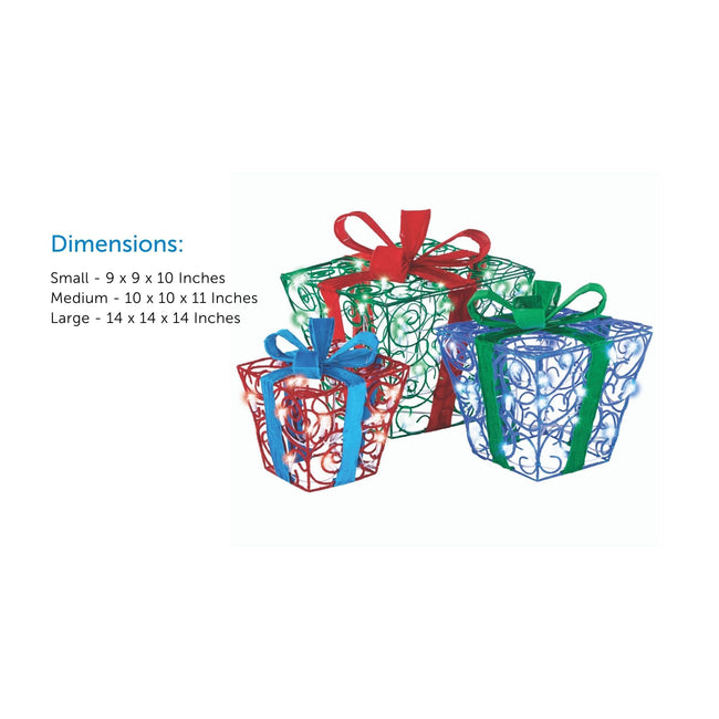 Dimensions Feature Call Out on Center Left of Image. Fuzzy Gift Boxes in Green, Blue and Red on Right Side of Image.. White Background.