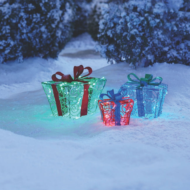 technology-Fuzzy Gift Boxes Pre-Lit LED Christmas Lawn Décor - 3 Pack