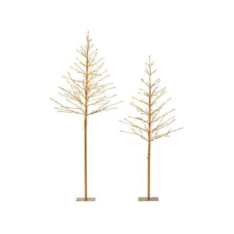 NOMA Pre-Lit Golden Trees with 280 Warm White Mini LED Lights, - 2-Pack. White Background.