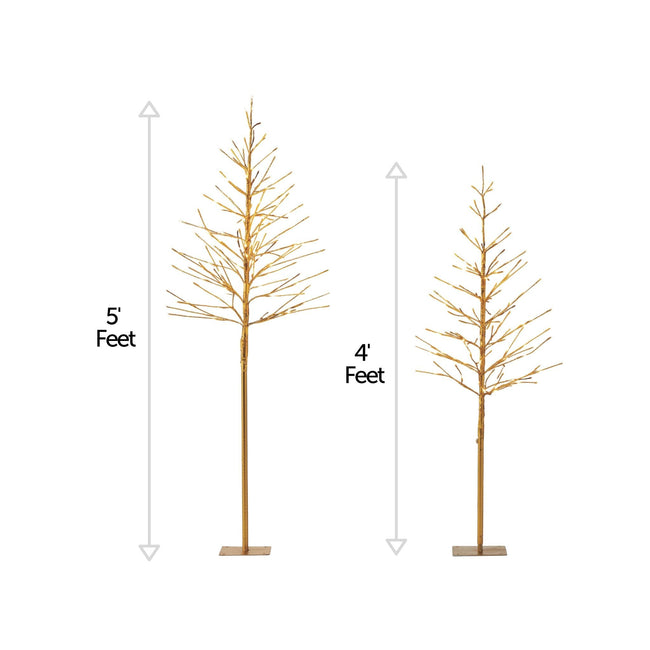 NOMA Pre-Lit Golden Trees with 280 Warm White Mini LED Lights, - 2-Pack. Vertical Lines Beside Each Tree to Indicate Height Measurement. White Background.