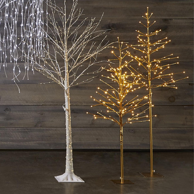 technology-Golden Trees Pre-Lit LED Christmas Lawn Décor - Warm White - 2 Pack