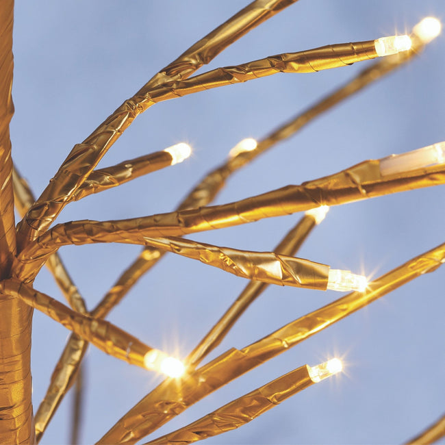 Close-Up of Golden Tree Branches and the Warm White Mini LED Bulbs.