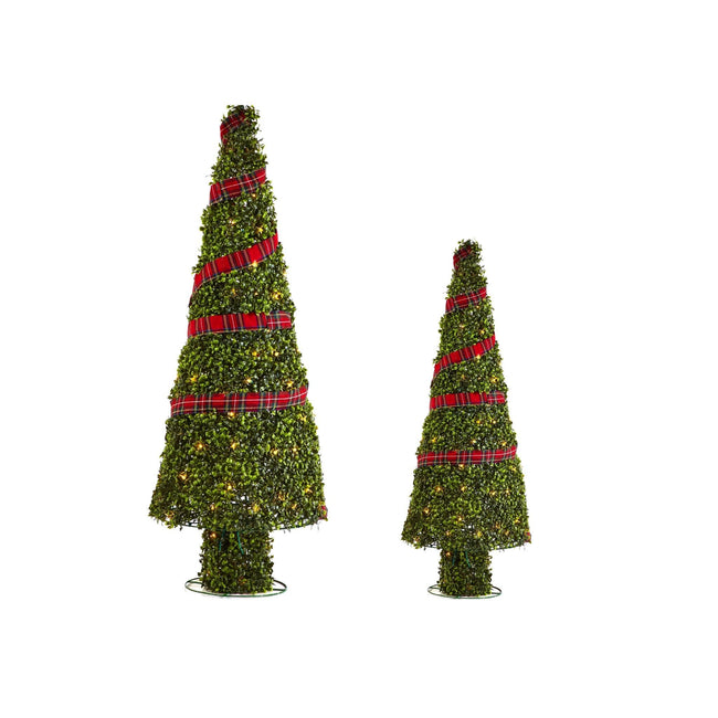 NOMA Pre-Lit Incandescent Winter Garden Christmas Cone Trees with 150 Bulbs, - 2 Pack. White Background.