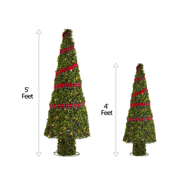 NOMA Pre-Lit Incandescent Winter Garden Christmas Cone Trees with 150 Bulbs, - 2 Pack. Vertical Lines Beside Each Tree Indicating Height Measurement. White Background.