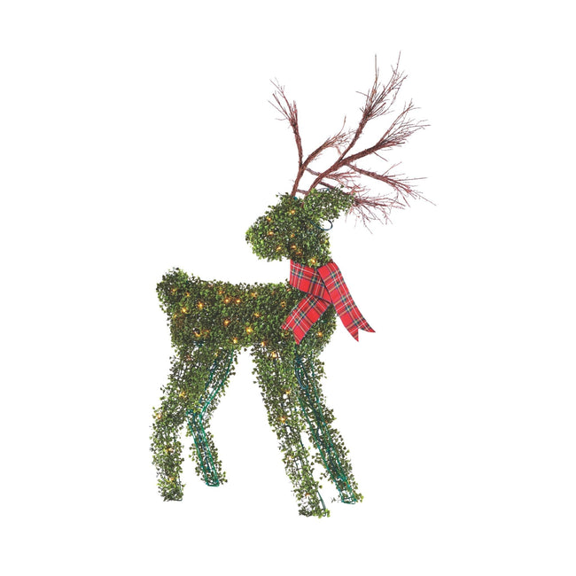 NOMA 4.4 Ft Pre-Lit 100 Warm White Incandescent Lights, Winter Garden Deer with Red Scarf. Christmas Lawn Decor. White Background.