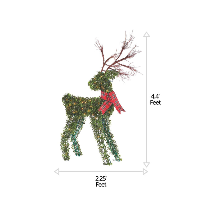 NOMA 4.4 Ft Pre-Lit 100 Warm White Incandescent Lights, Winter Garden Deer with Red Scarf. Christmas Lawn Decor. Horizontal and Vertical Lines Indicating Measurements of Deer, White Background.