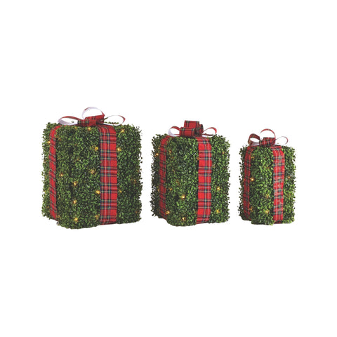 NOMA Pre-Lit Incandescent Winter Garden Gift Boxes - 3-Pack. White Background.