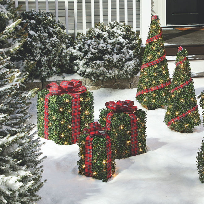 technology-Winter Garden Gift Boxes Pre-Lit Christmas Lawn Décor - 3 Pack