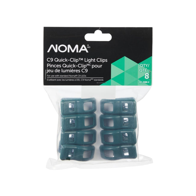 NOMA Green Quick Clip C9 Replacement Clip - 8 Pack, Packaging