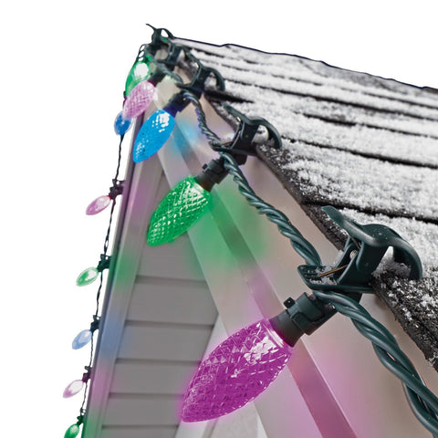 NOMA Purple, Blue & Green C9 Quick Clips - 24 Count, Attached to Roof on White Background