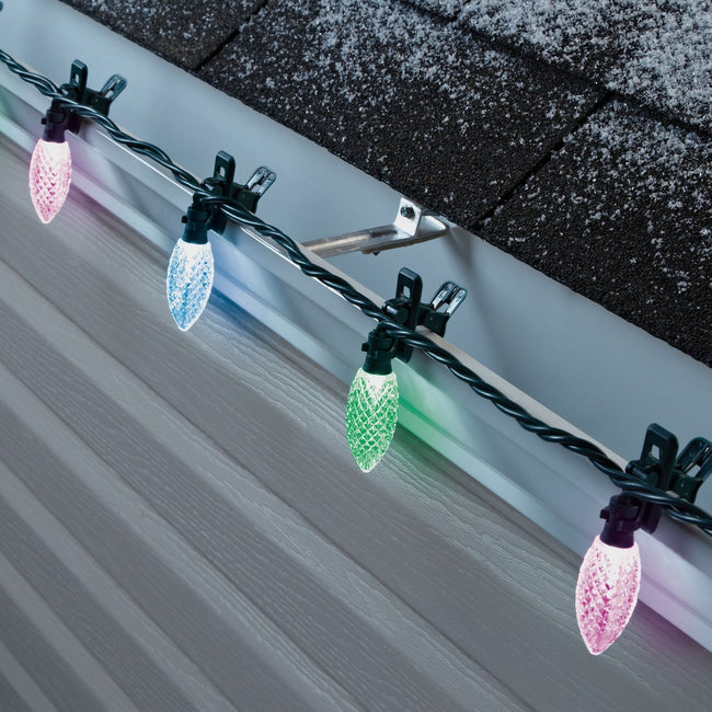 NOMA C9 Quick Clips Purple, Blue & Green Attached to Roof Side View. Alternating Purple, Blue & Green Colors