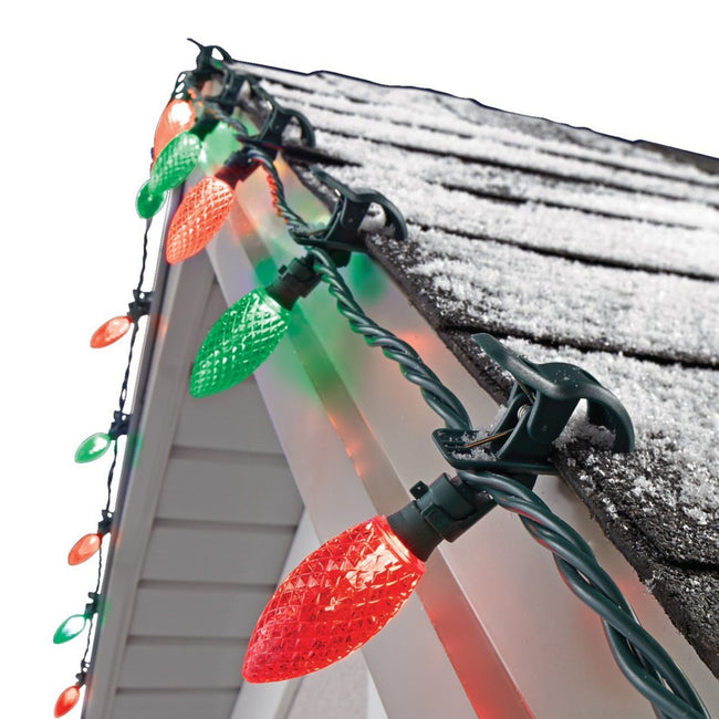 NOMA Red & Green C9 Quick Clips - 24 Count, Attached to Roof on White Background