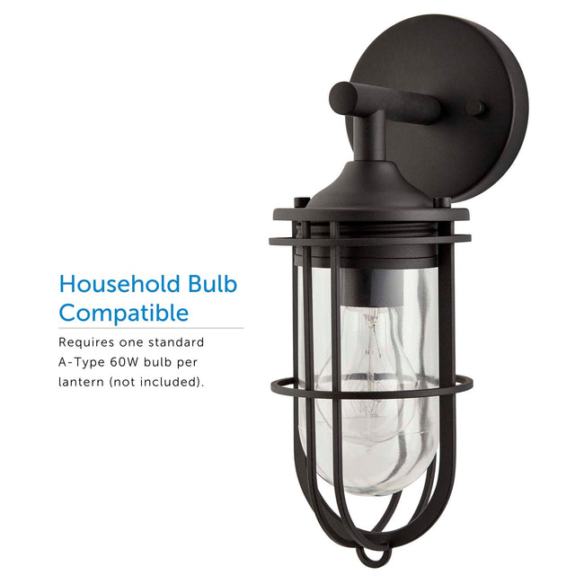 2-Pack Dupont Outdoor Wall Lantern / Sconce Down-Facing Waterproof Light - Black