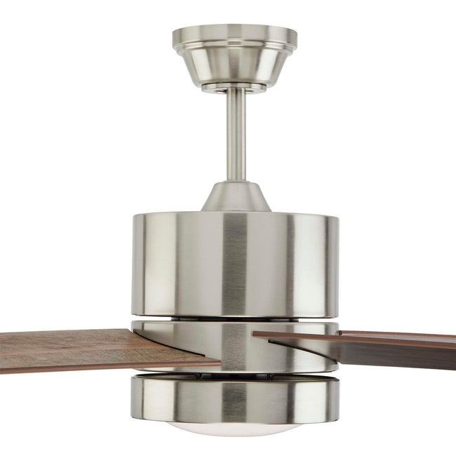 Quatra Ceiling Fan with Dimmable Light - 4 Blades - Brushed-Nickel close up