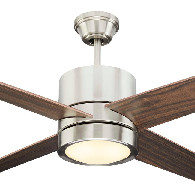 Quatra Ceiling Fan with Dimmable Light - 4 Blades - Brushed-Nickel close up on light