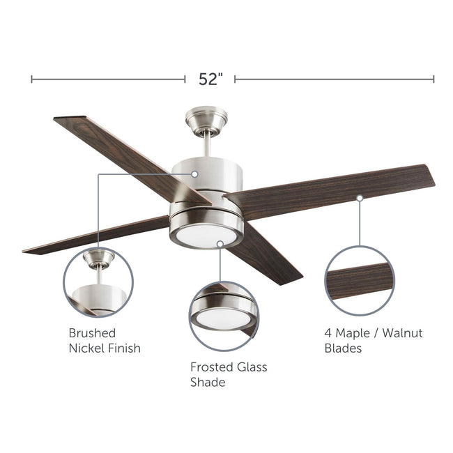 Quatra Ceiling Fan with Dimmable Light - 4 Blades - Brushed-Nickel with feature call-outs on finish, shade and blades