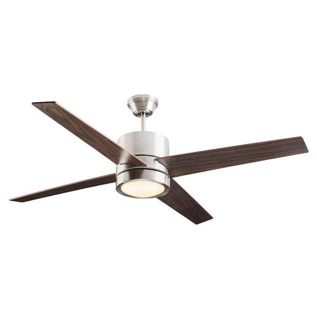 Quatra Ceiling Fan with Dimmable Light - 4 Blades - Brushed-Nickel on a white background