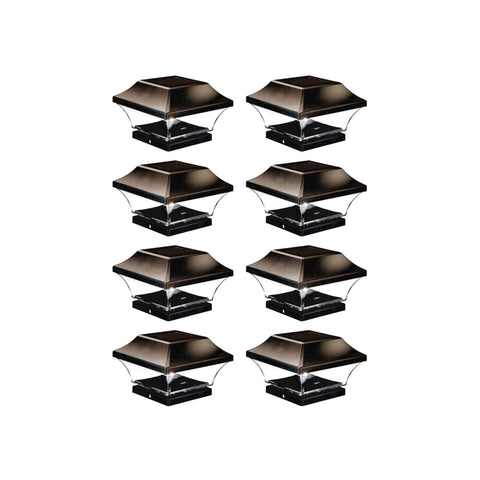Solar Post Cap LED Lights With Auto On/Off - 8 Pack - Brown/Bronze
